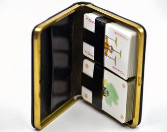 playing card set leather case French vintage double deck carta mundi les grand ecrivains and credit agricole logo pack black gold game gift