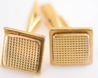 cufflinks plated gold square MCM textured French vintage plaqué or galv maker mark matching pair mid century jewellery for double cuff shirt