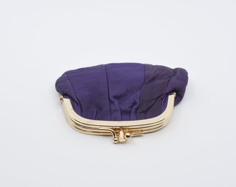 coin purse French vintage purple leather suede lined midcentury modern gold tone metal porte monnaie one compartment retro pouch c1980s