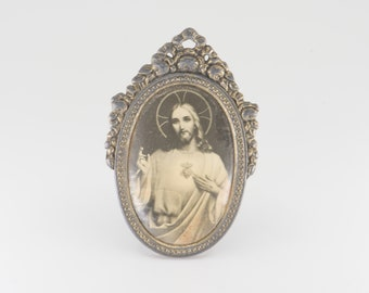 antique miniature Christ framed portrait Jesus oval metal stand up small religious spiritual art black white tint for the table decor rare