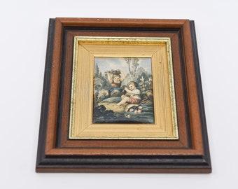 "vintage silk satin wall art print renaissance revival 2 children playing country garden gilt gold wood frame midcentury home decor art 9.8"""