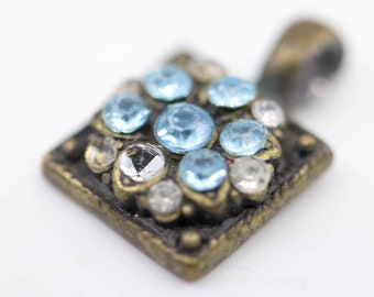 old square pendant blue diamante paste bronze tone metal tarnish patina something blue small French vintage antique jewellery charm gift
