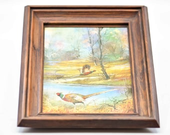 vintage foil art wood frame pheasant birds nature landscape iridescent scene country home decor vertical H 27 x W 21.5cm for the wall 1970s