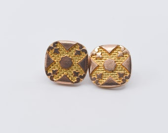 antique cufflinks gold copper tone metal stamped nickel AS Victorian dandy fashion geometric op art vintage square one pair suit accessory