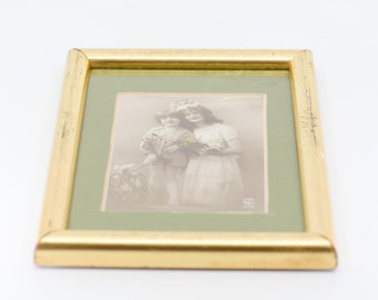 tinted postcard Alfred Noyer gold tone frame French vintage art nouveau portrait mother child sepia tone green card backing wall art decor