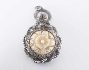 miniature teardrop pendant French antique mesh carved bone flower openwork tiny strass detail unusual rare vintage victorian jewellery 1900s