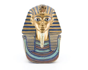 vintage tutankhamun pharoah sculpture ancient Egyptian revival figure model decorative gold heavy paper weight hieroglyphics verso bust 6""