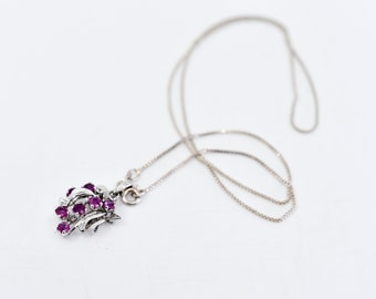 pretty pink silver pendant necklace faux amethyst detail 925 hallmark sterling chain English vintage prom elegant dainty jewellery 1980s