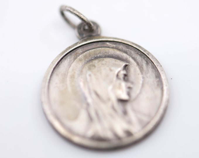 Featured listing image: religious charm Lady of LOURDES silver tone medallion Catholic religion French vintage pendant Virgin Mary medal double side stamp FRANCE