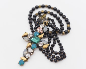 rosary bead cross pendant long necklace designer costume jewellery chunky statement bling coloured crystal glass green blue black bead chain