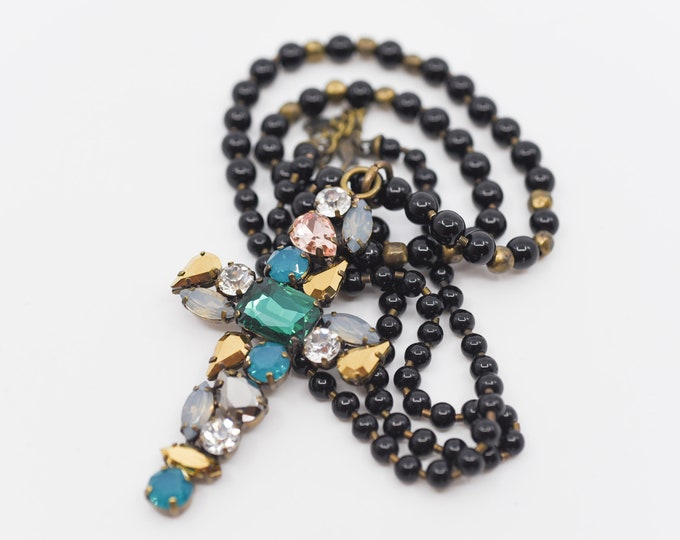 Featured listing image: rosary bead cross pendant long necklace designer costume jewellery chunky statement bling coloured crystal glass green blue black bead chain