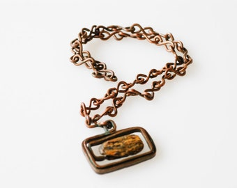 copper chain with stone pendant centre French vintage midcentury modern jewellery handmade artisan crafted one of a kind necklace verdi gris