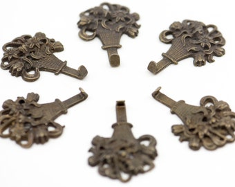 """small hook decorative French vintage bronze metal openwork antique floral flower basket motif for the wall revival matching lot of 3 2"""" 5cm"""