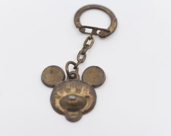 Mickey Mouse keychain French vintage metal keyring Walt Disney Production Le Journal de Mickey promotional memorabilia collectible rare