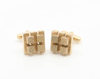 cufflinks French vintage modernist brutalist cube square geometric relief pattern gold tone metal mid century jewellery wedding suit rare
