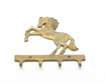 vintage hook rack brass horse French antique four coat hook plaque for the wall verdi gris equestrian home storage decor organisation rare