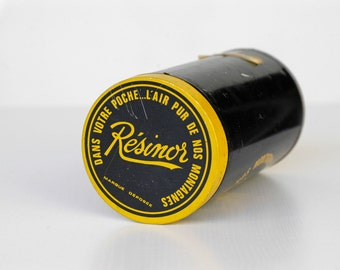 french vintage metal tin RÉSINOR retro industrial metal yellow blue cylinder storage container tin & lid midcentury home decor man cave rare