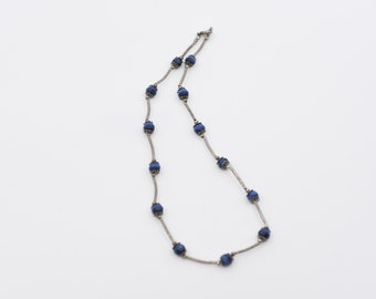 necklace vintage faceted blue black two tone bead silver tone metal choker midcentury something blue pretty collectible costume fashion rare