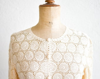 crochet top cardigan jacket vintage handmade cream soft long sleeve see through button front boho shimmery sheer lace fashion adult size S