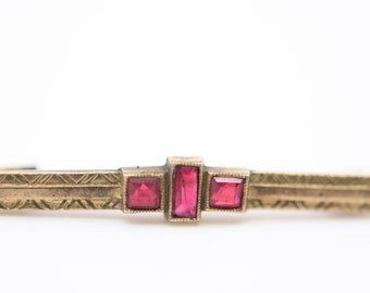 antique brooch French art nouveau pin gold FIX stamp red stone detail maker mark to be identified vintage dress pin collectible c1910 rare