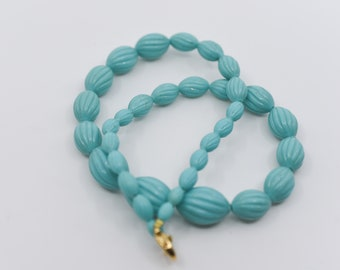 vintage early plastic necklace oval carved blue green gold metal clasp jewellery midcentury modern choker French vintage 1960s collectible