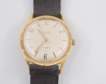 vintage Russian watch POLJOT 16 jewel gold tone cream face mechanical wind up brown genuine leather strap USSR foreign waterproof protection