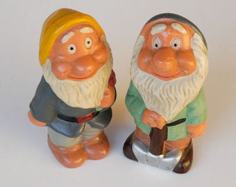 garden gnomes disney dwarf style figurines / pair of chalkware collectibles / midcentury outdoor gardening decorative vintage figural kitsch