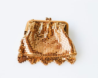 gold sequin purse French vintage cocktail evening purse small handbag aumonière style porte monnaie midcentury modern boxed gift 1960s NOS