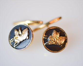cufflinks black gold dog French vintage dandy fashion gold tone metal round retro fashion jewellery suit wedding made in France