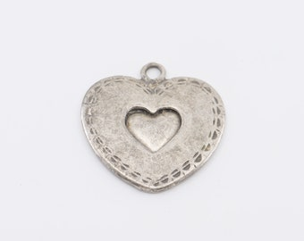heart pendant Italian vintage silvered metal chunky double heart love friendship engagement jewellery gift made in Italy maker mark 1980s