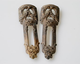 antique French chateau bronze furniture moulding architectural metal salvage matching pair ornate vertical ormolu home improvement one pair