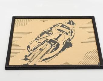 motorcyclist biker art vintage handmade pen ink sepia tone drawing black wood frame horizontal print signed original wall art artist unkown