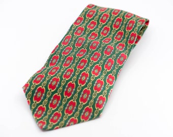 necktie Pierre Balmain for Peugeot 306 green red equestrian buckle pattern French vintage silk tie car collector formal suit accessory 1990s