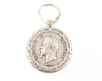 antique medal French Napoleon III EMPEREUR silver argent poinçon campagne d'Italie 1859 stamp Barre French vintage commemorative militaria