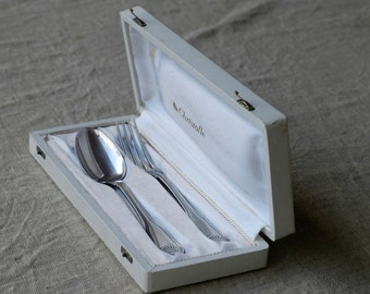 Christofle fork spoon set French vintage silver plated cristofle box set coffret flatware silverware cutlery midcentury gift kitchen table