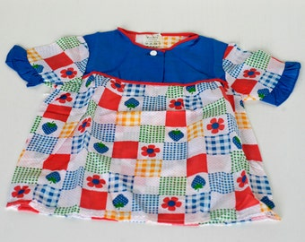 vintage patchwork dress French smock top blue flower power top for child toddler midcentury fashion made in France c.1950s boho summer kids