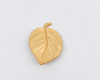 vintage brooch pin leaf motif signed LMJ french fashion accessory collectible signed gold tone metal unusual collectible costume jewellery