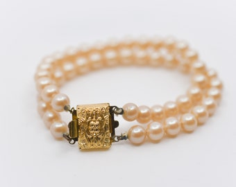 vintage faux pearl two strand bracelet with ornate gold tone metal clasp stamped JAPAN retro fake pearl wedding jewellery for her c1970s