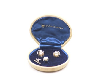vintage Japanese cufflinks pearl silver SUN EAGLE TAKASHIMAYA dandy gift wedding groom suit accessory jewellery c.1980s