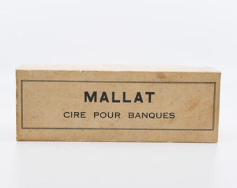 vintage stamp with wax seal French MALLAT cire pour banques bank grade sealing wax stamp original box monogram initials AL craft supply rare