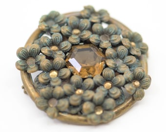 antique brooch French vintage jewellery floral motif with yellow faceted cabochon verdi gris patina and tarnish early 1900s collectible rare