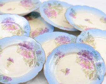 antique desert plates small hand painted Limoges porcelain china ceramic tea shop display cake flower blue gold design mixed stamps c1890s