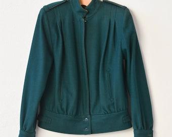 French vintage jacket blouson wool viscose dark green coat fashion clothing 80s style lined medium unisex adult outerwear winter ROSE HIPS