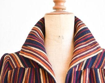 70s striped wool dress French vintage fashion FOUKS PARIS button down pockets belt aline long sleeve high collar adult size medium FR38 rare