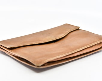soft tan leather pouch French vintage envelope with attached coin purse small clutch for travel wrist strap lightly distressed unusual rare