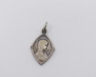 french art nouveau religious pendant antique silver tone metal double side LOURDES catholic pretty vintage charm saints medals spirituality
