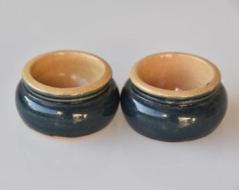 butter pat server stoneware with blue glaze base vintage Fortnum and Masons London designer retro homeware for the table matching pair 1970s