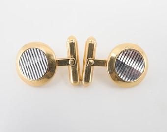 round cuff links vintage CARVEN midcentury modern gold tone reflective mirror matching pair cufflinks for formal shirt wedding numbered 5011