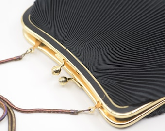 clutch bag black pleated evening purse handbag gold clasp long metal iridescent chain liner midcentury modern French vintage accessory 1960s