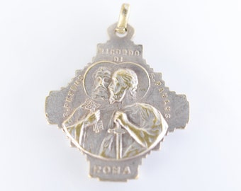 religious medal Ricordo di Roma Pius XII Pont medaille ancienne Catholic religion vintage Vatican Papal silver tone souvenir cross pendant